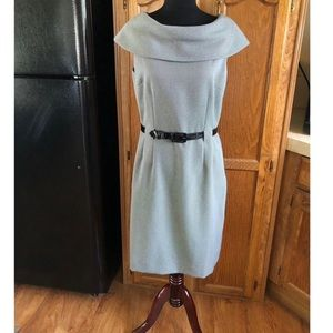 Tahari Black and White Belted Cowl Dress Size 10